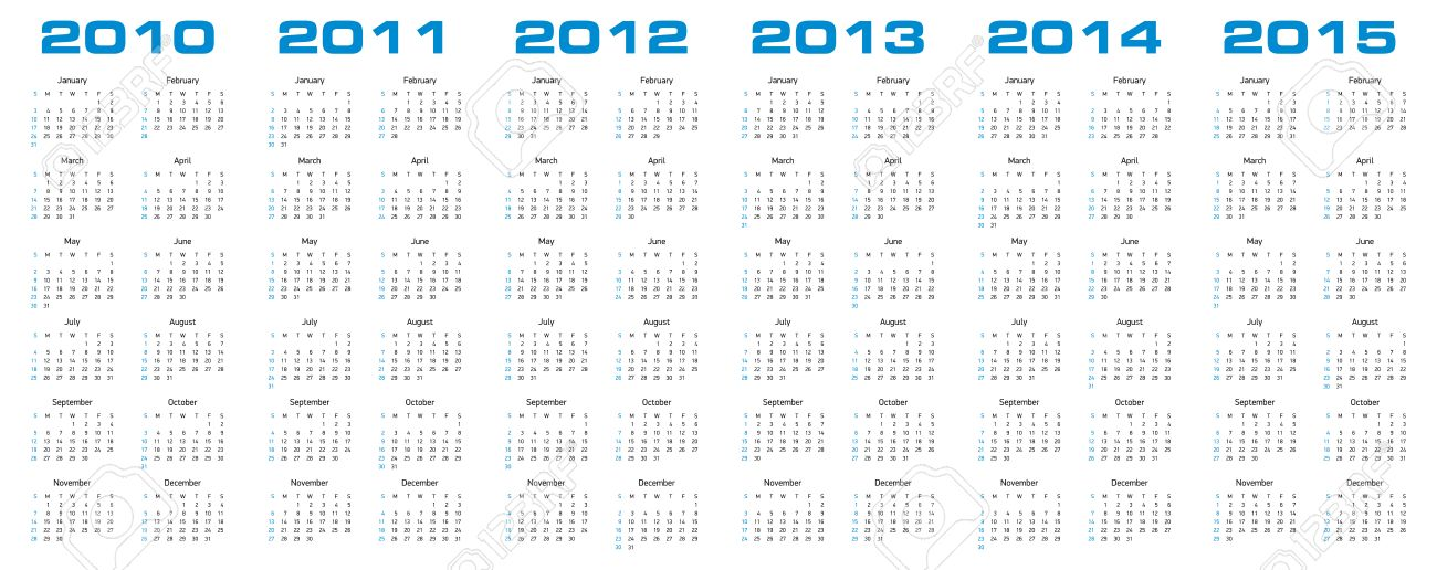 simple calendar for years 2010 2011 2012 2013 2014 and 2015