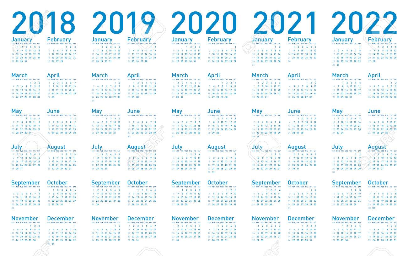 simple blue calendar for years 2018 2019 2020 2021 and 2022