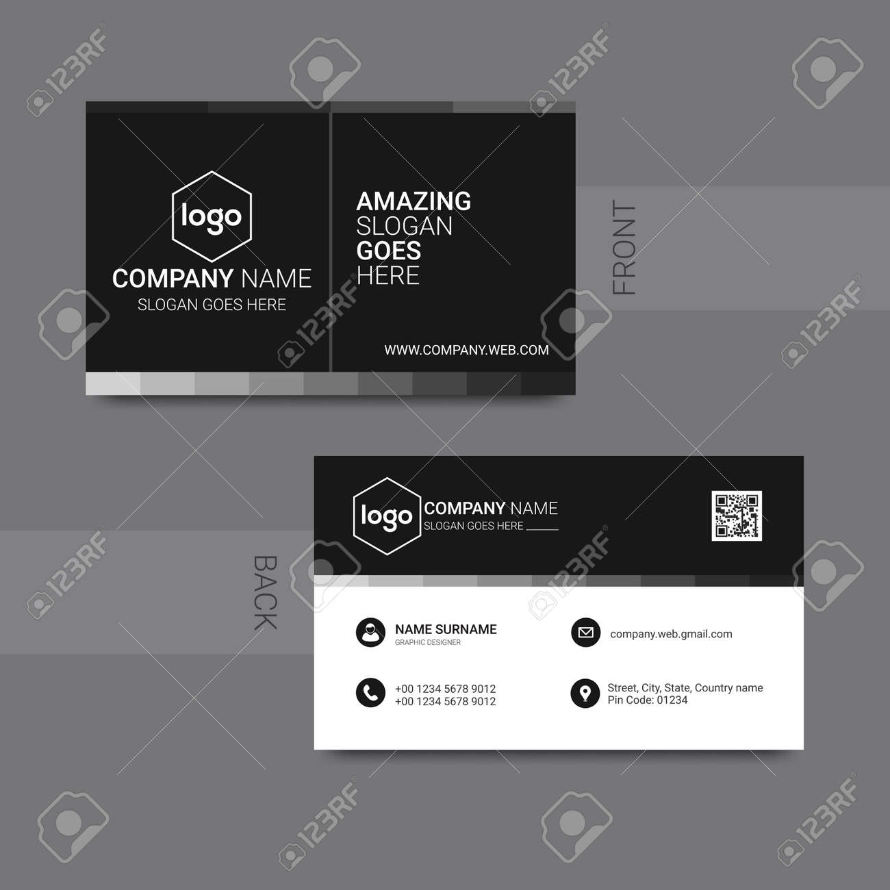 Modern business card template design. With inspiration from the abstract. Contact card for company. - 167530730