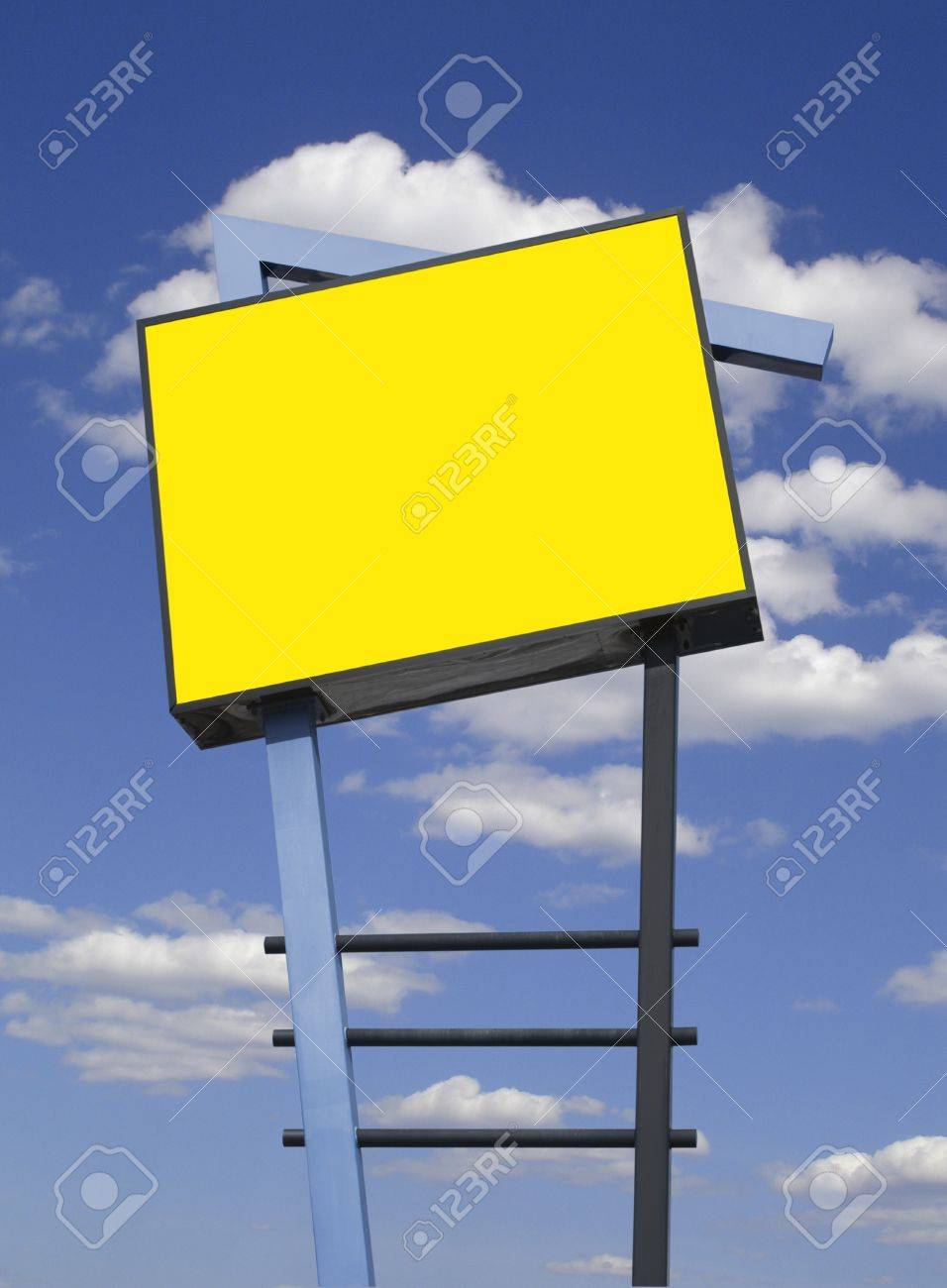 Store advertising sign in yellow over cloudy sky, isolated Stock Photo - 9116716