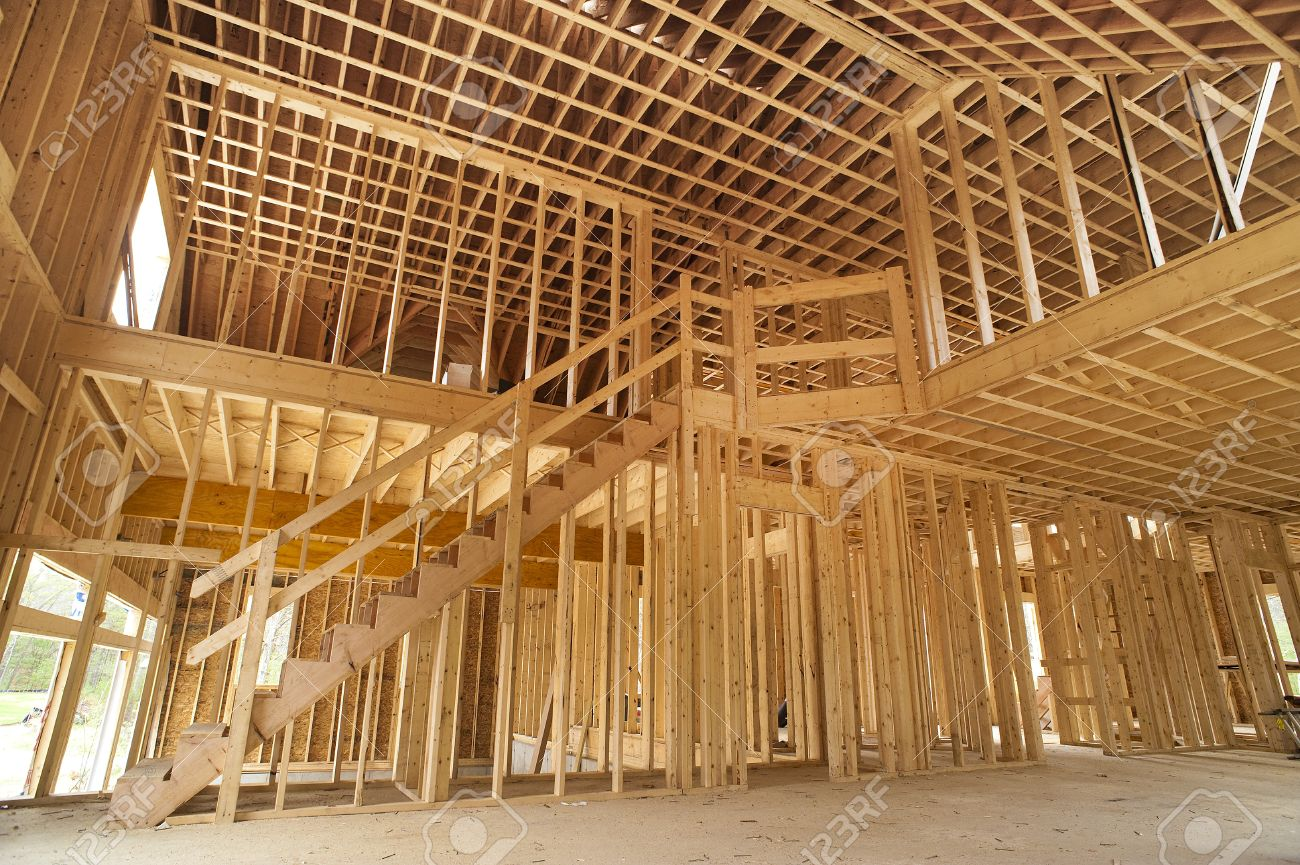 Interior Framing Of A New House Under Construction Stock Photo ...