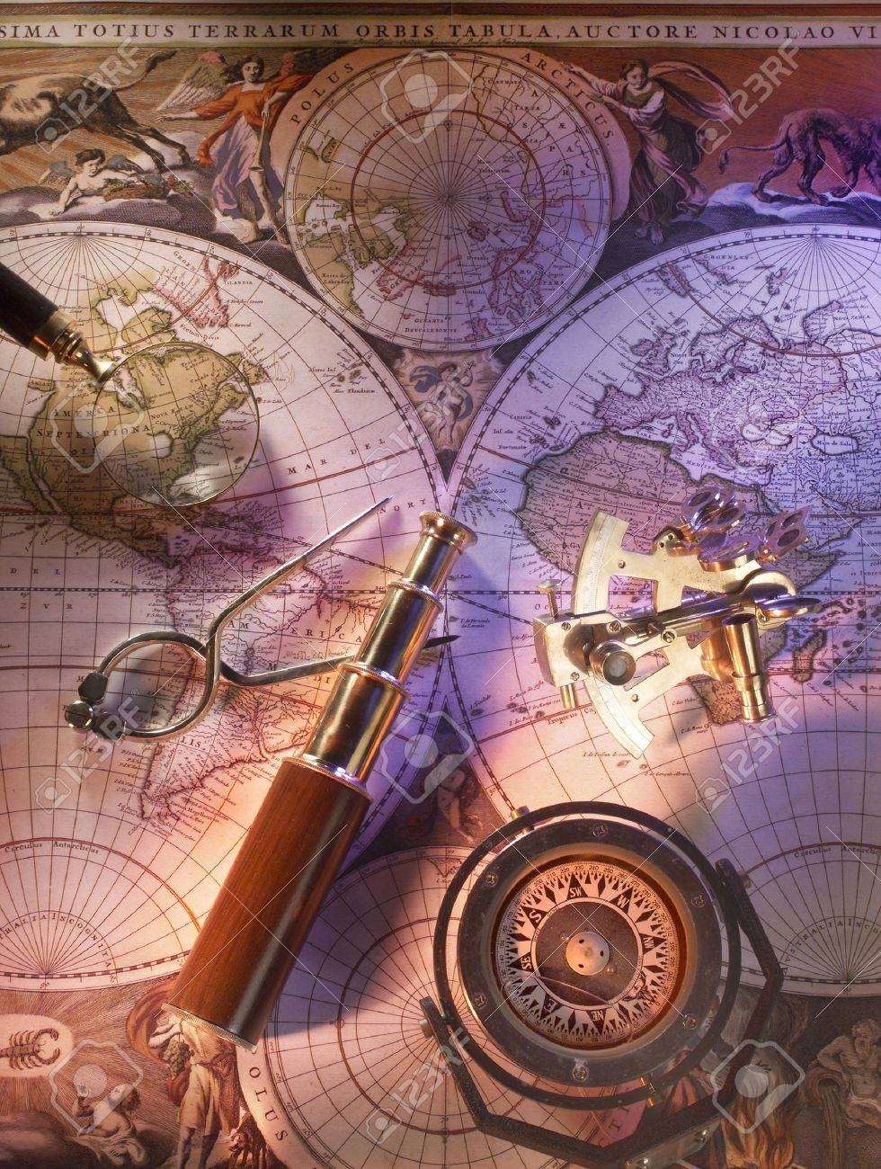 Old Nautical Map With Compass And Brass Telescope Stock Photo