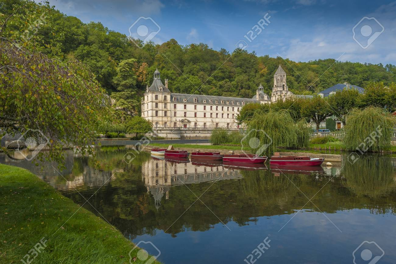 Medieval town of Brantome in the Dordogne department in France Stock Photo - 16322689