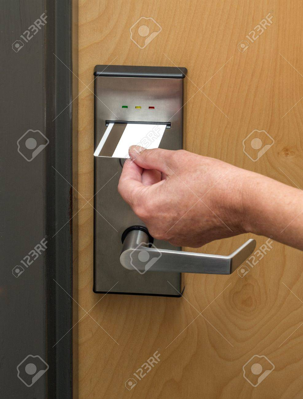Keycard used to open hotel room door Stock Photo - 19828810
