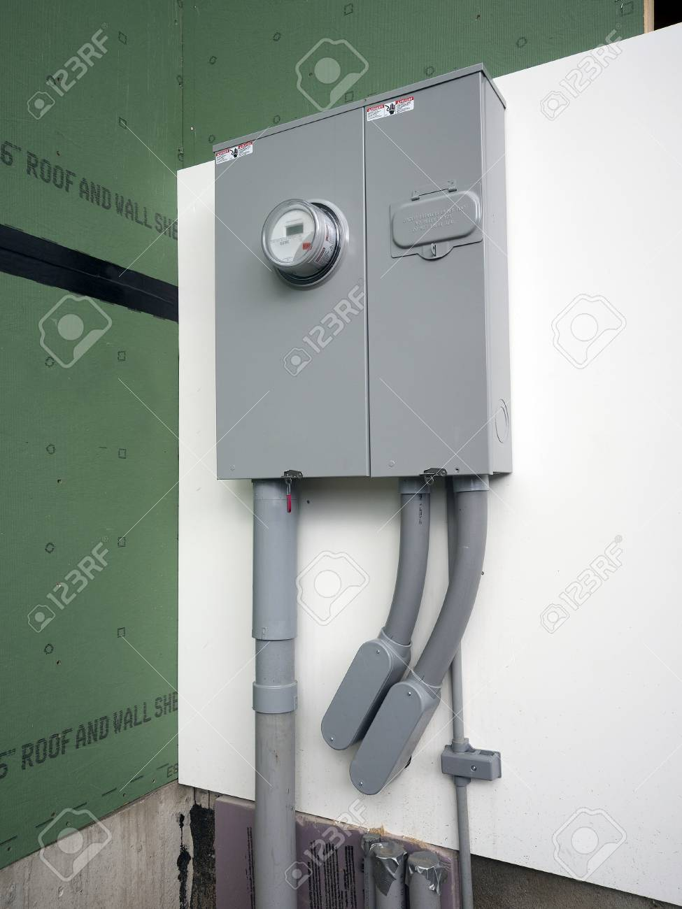 Electric Power Panel And Meter On A New House Stock Photo, Picture ...