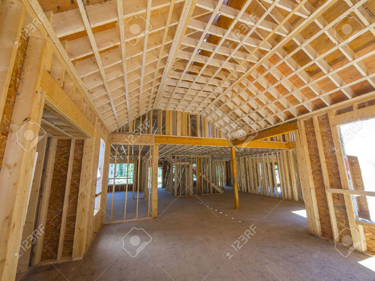 Interior Framing Of A New House Construction Stock Photo, Picture ...