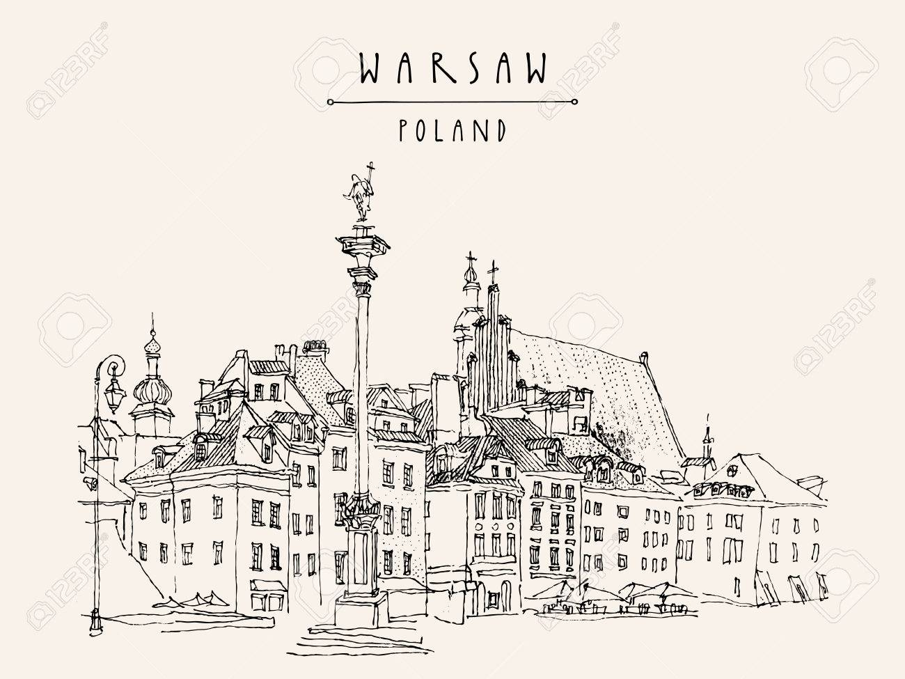 Castle Square in old center of Warsaw, Poland. Historic buildings. Travel sketch, hand lettering. Monochrome black and white vintage postcard template, vector illustration - 47488170