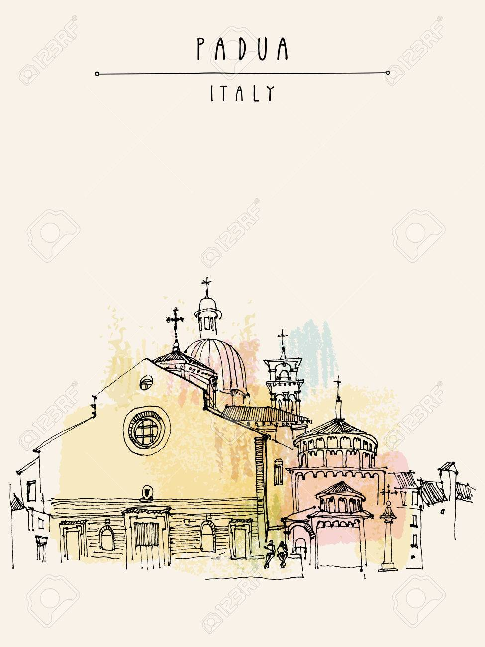 Padua Cathedral in Padua, Veneto, Italy. Historical building sketchy line art. Freehand drawing. Travel sketch. Postcard template, vector illustration - 47488172