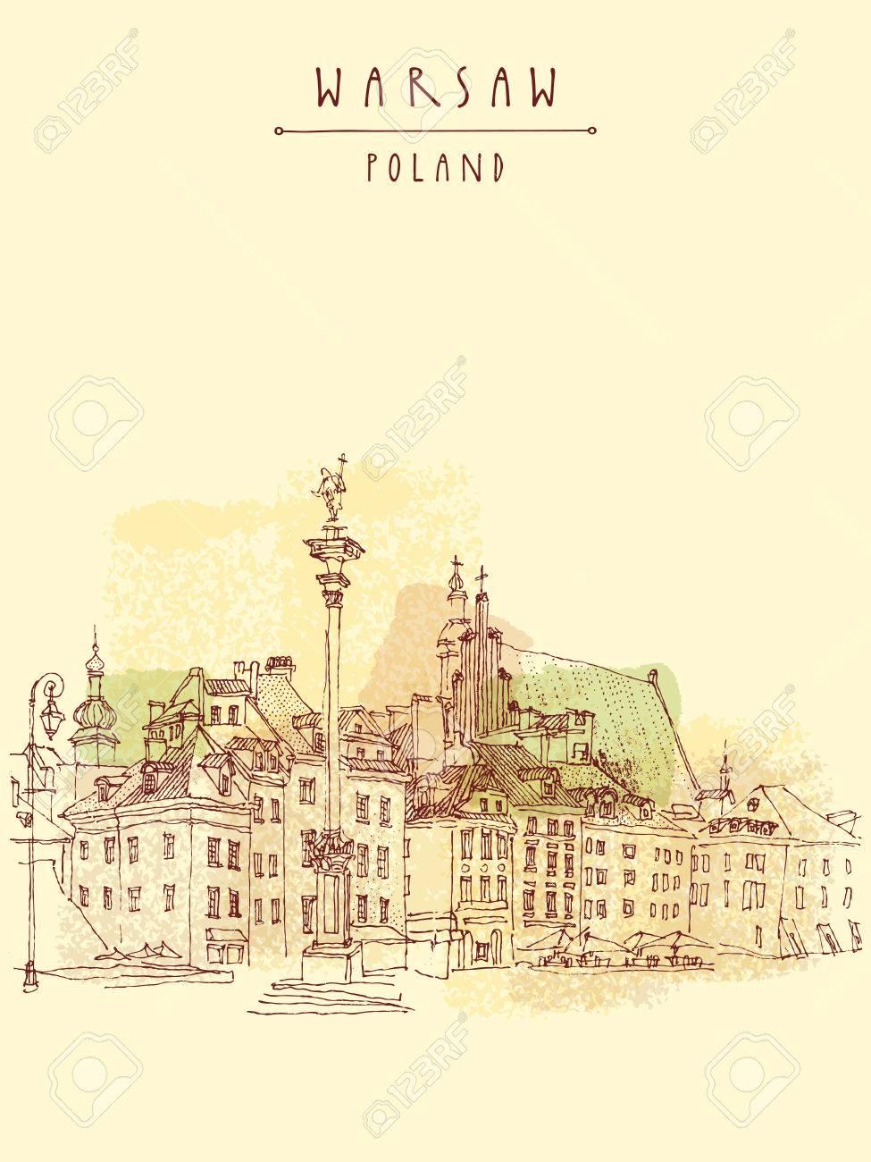 Castle Square in old center of Warsaw, Poland. Historic buildings. Travel sketch, hand lettering. Artistic vintage postcard template, vector illustration - 47488248