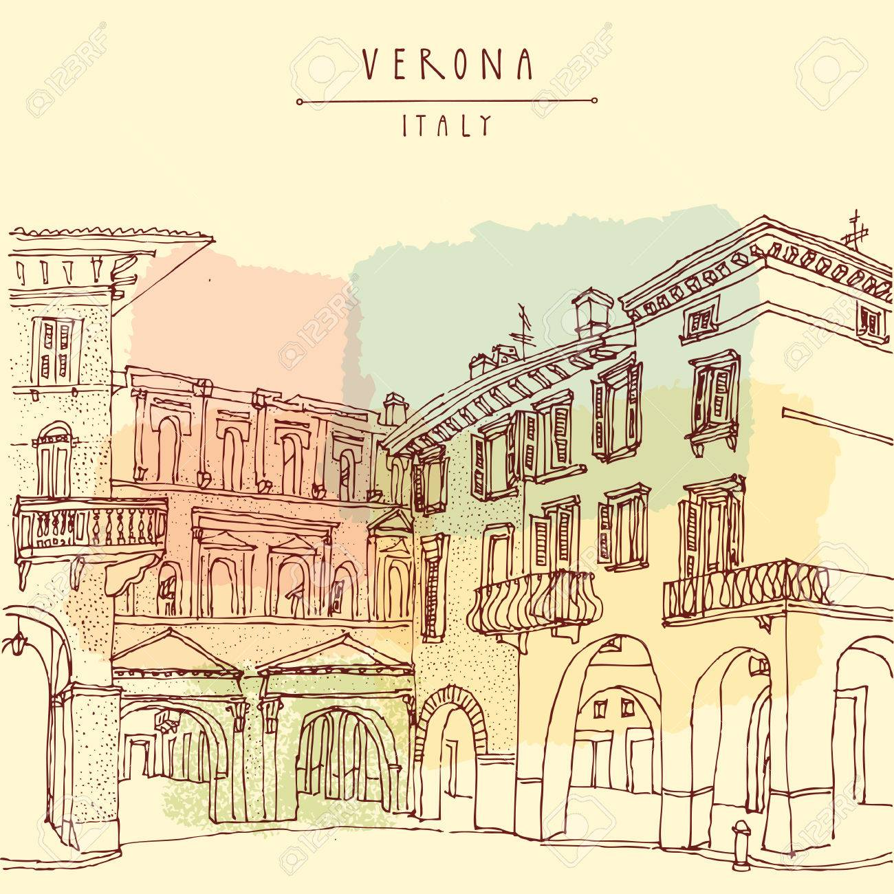 Verona, Italian city, Europe. Old historic buildings. Travel sketch. Vintage hand drawn touristic postcard or poster, vector illustration - 47488335