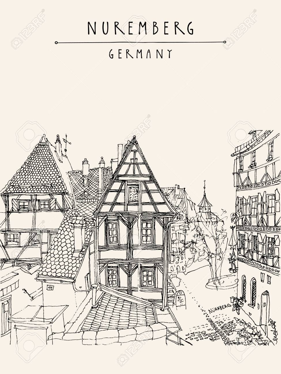 Nuremberg, Alemania, Europa. El Casco Antiguo, Históricos Casas De ...