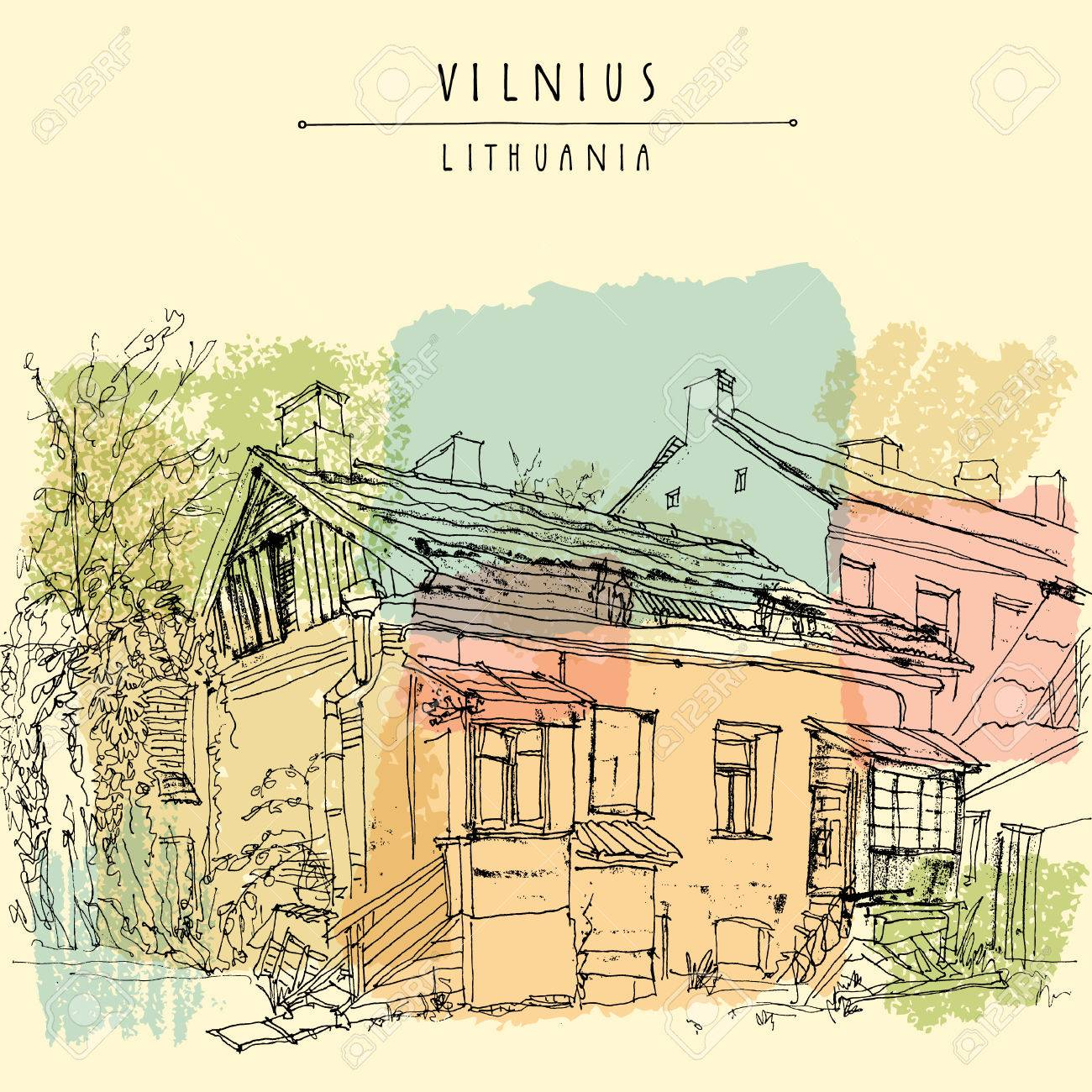 Traditional house in Vilnius old town, Lithuania, Europe. Freehand drawing. Travel sketchy art. Touristic poster, postcard template. Postcard design with Vilnius Lithuania hand lettered title. Vector - 47488509
