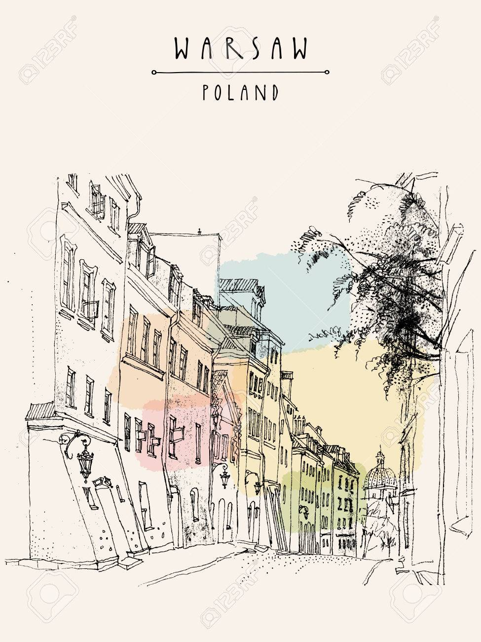 A street in old center of Warsaw, Poland, Europe. Historical buildings line art. Travel sketchy drawing, hand lettering. Vintage postcard, banner template. Vector - 47488512
