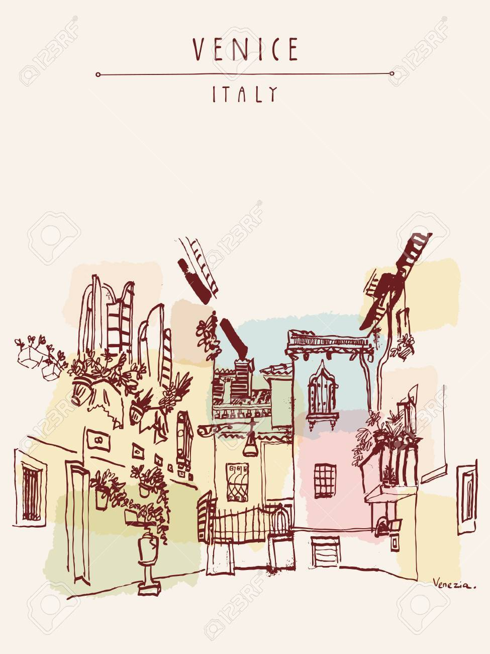 Beautiful courtyard in Venice, Italy, Europe. Colored vintage hand drawn postcard in vector - 47488520