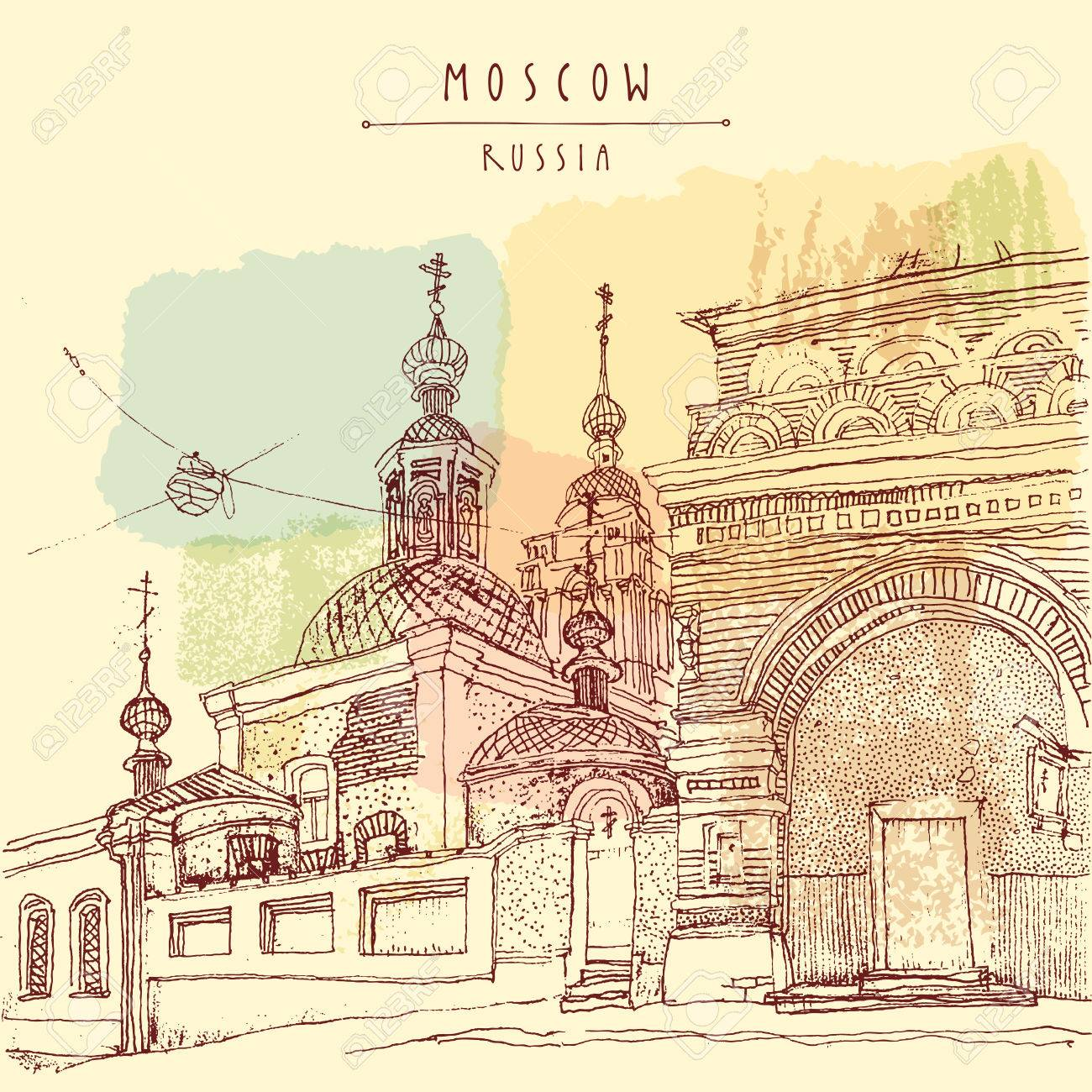 Russian Orthodox church in Moscow, Russia. Vintage artistic hand drawn postcard or poster. Vector - 47488524