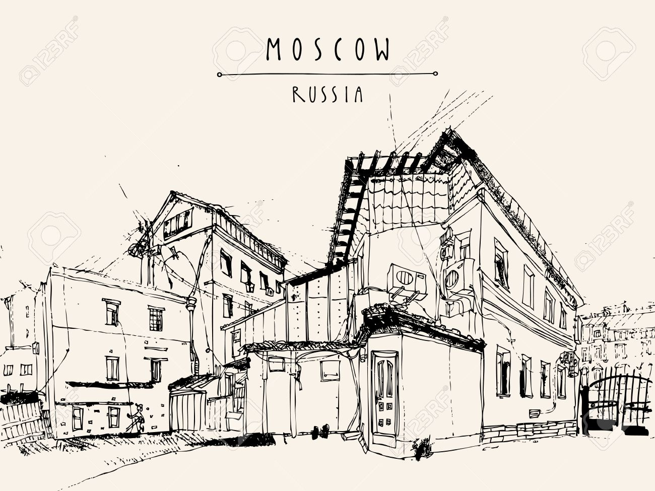 Residential buildings in Moscow, Russia. Hand drawn postcard. Vector - 47488724