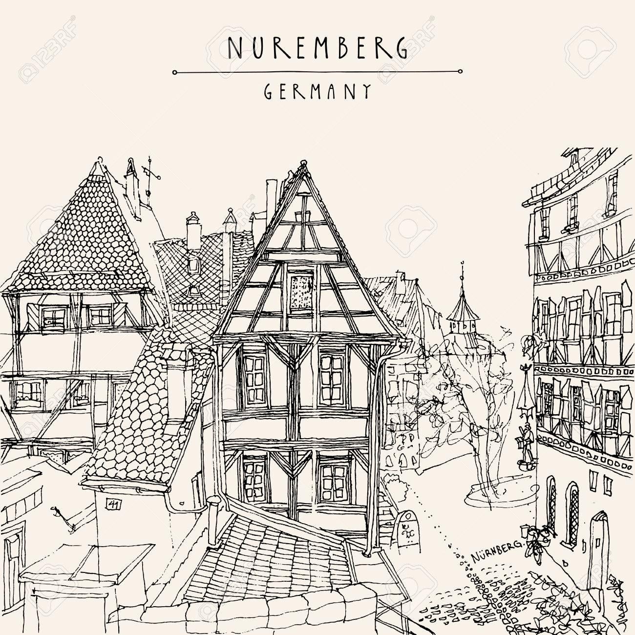 Nuremberg, Alemania, Europa. Vista De La Ciudad Vieja Con Históricas ...