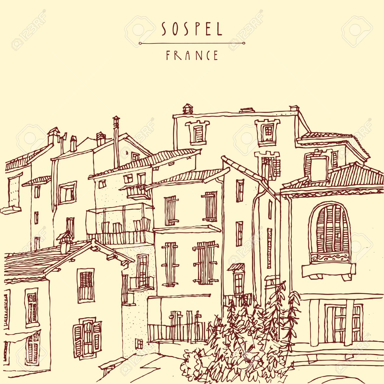 Sospel, France, Europe. Residential houses. Retro style postcard or poster, coloring book page or calendar illustration with hand lettering. Vector - 47488866