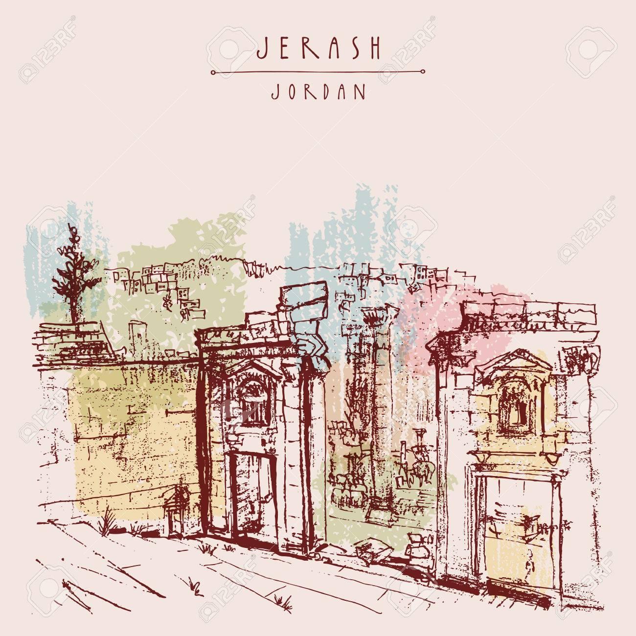 Ancient Roman city of Jerash, Jordan, Middle East. Colorful vintage artistic hand drawn postcard - 48079672