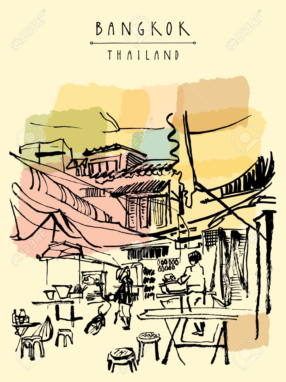 China town in Bangkok, Thailand. Food stalls, tables, stools. People buying Chinese food in a simple street cafe. Vertical vintage hand drawn postcard - 48079826