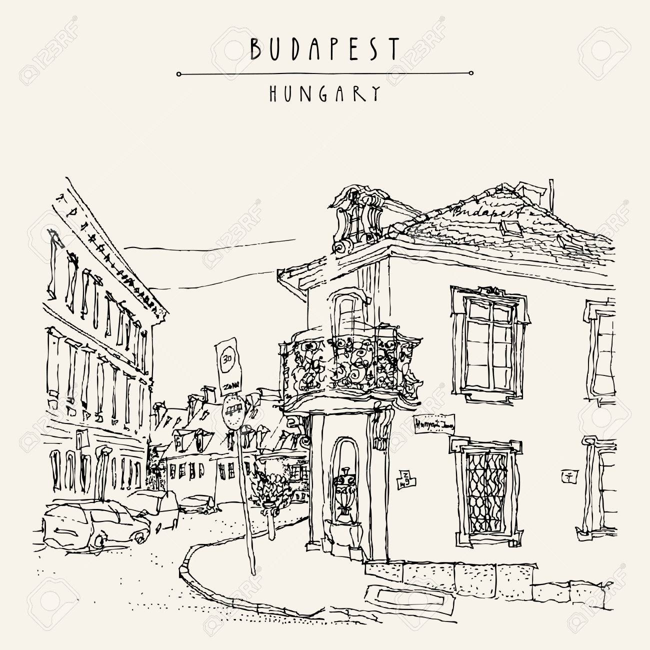 Street Corner In Budapest City Hungary Europe Architectural Hand Drawing Travel Sketch