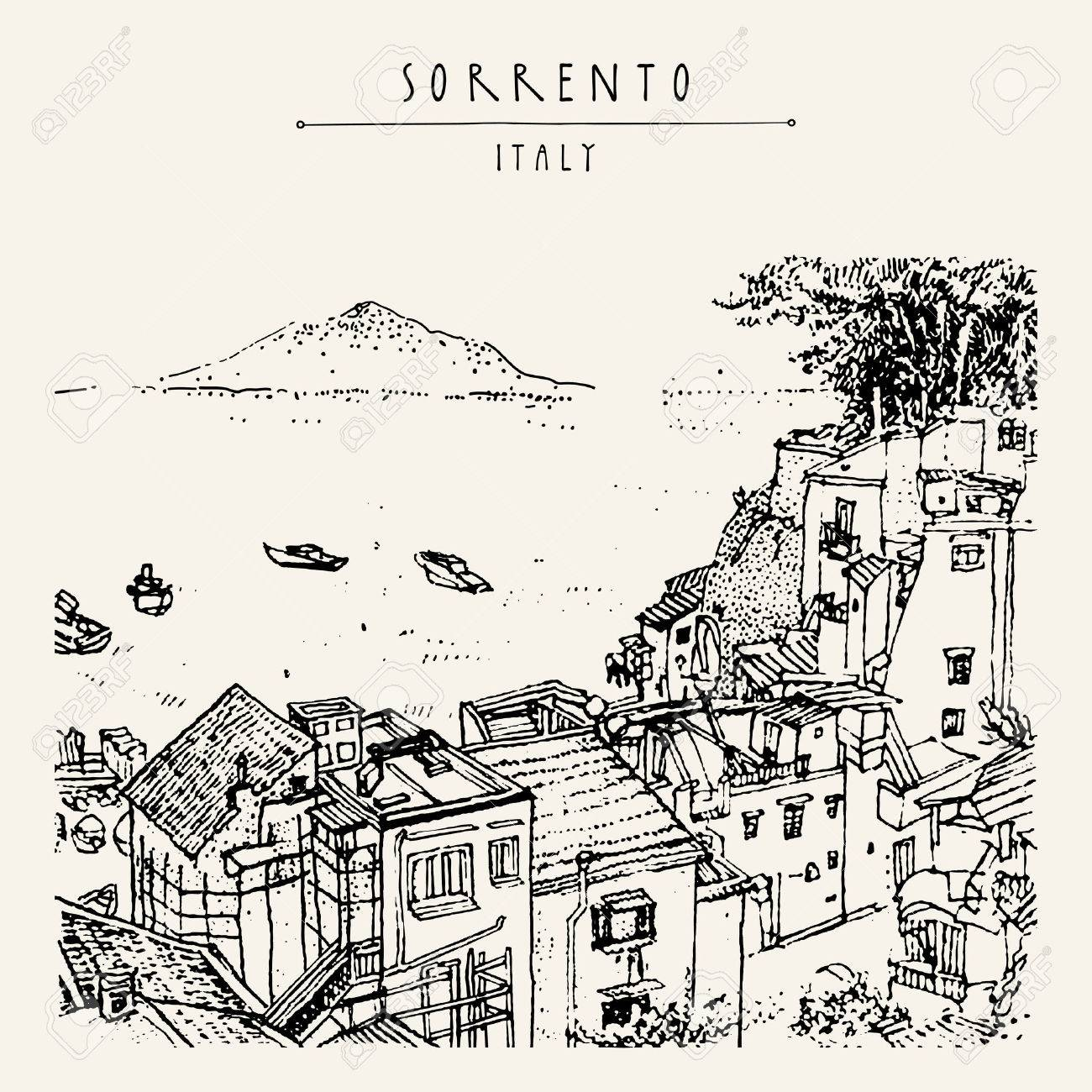 Sorrento, Italy, Europe. Above view. Vesuvio volcano, trees, sea. Sketchy line art. Artistic illustration drawing. Hand lettering. Touristic postcard poster template, book illustration in vector - 58516801