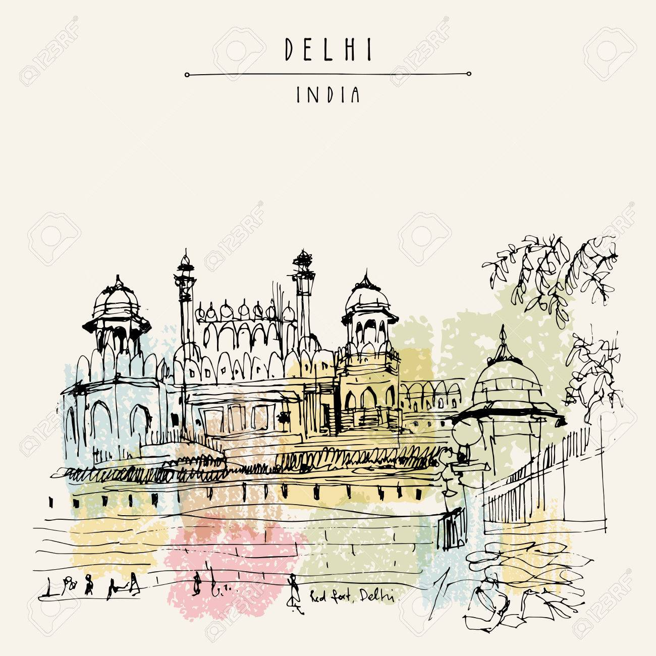 View of Red Fort in Delhi, India. Vintage hand drawn postcard template. Vector illustration - 60399834