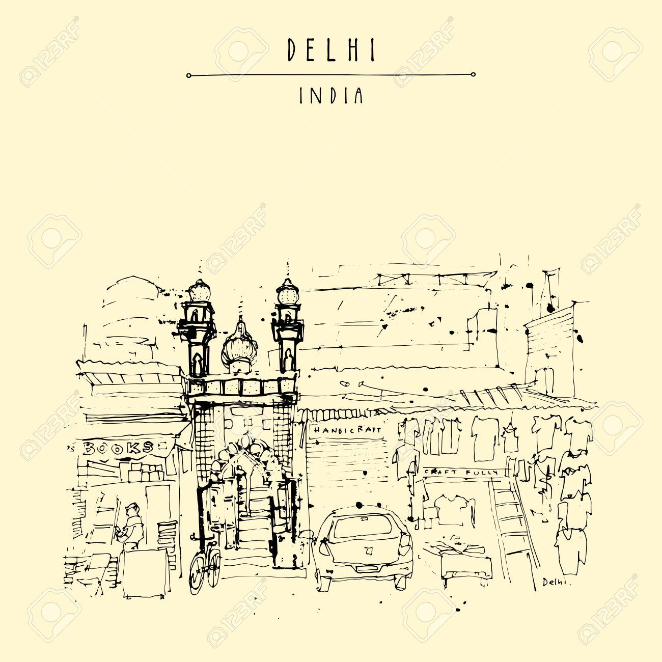 Moschee-Eingang. Alte Historische Gebäude In Main Bazar Straße ...