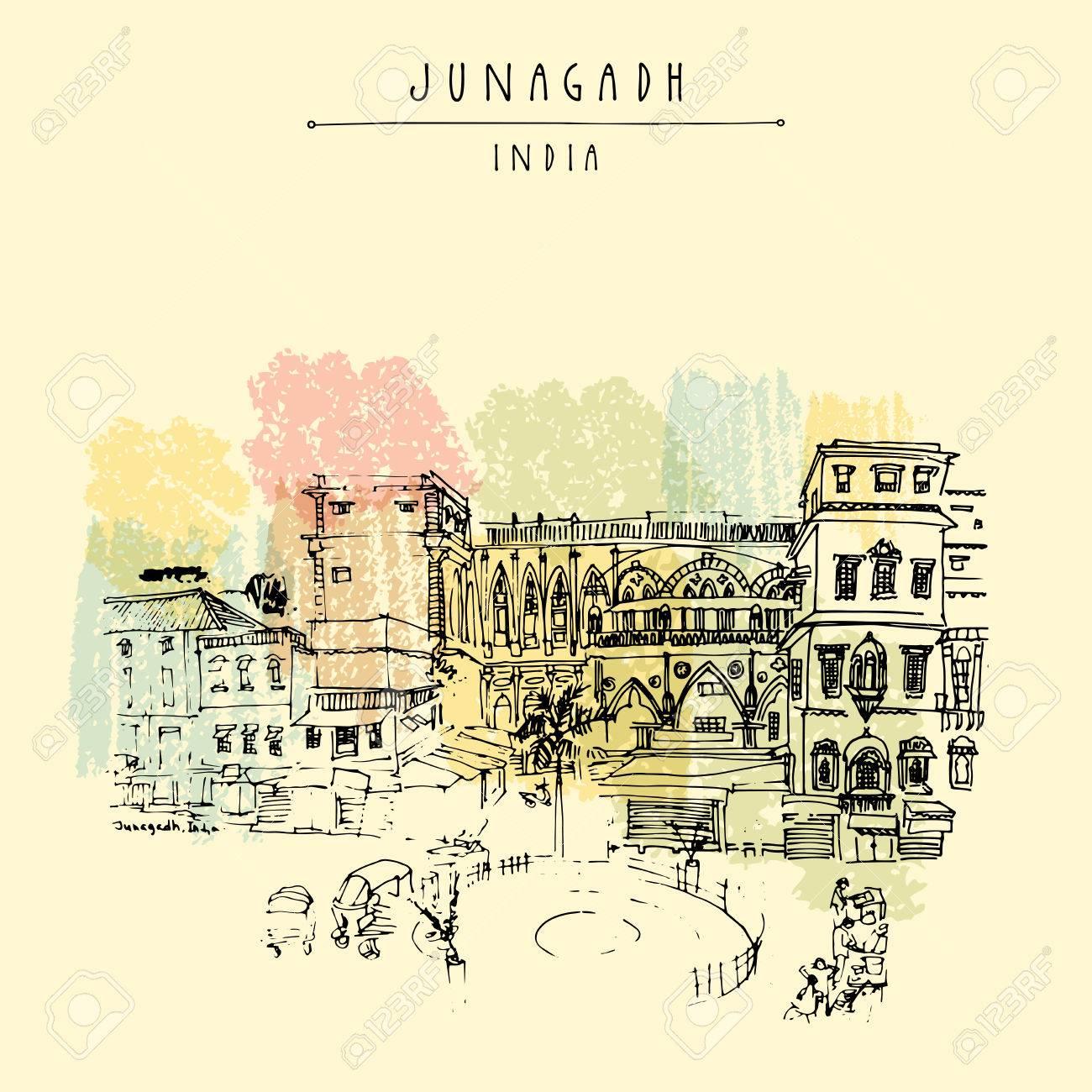 Alte Gebäude In Junagadh, Gujarat, Indien. Hand Gezeichnete Skizze ...