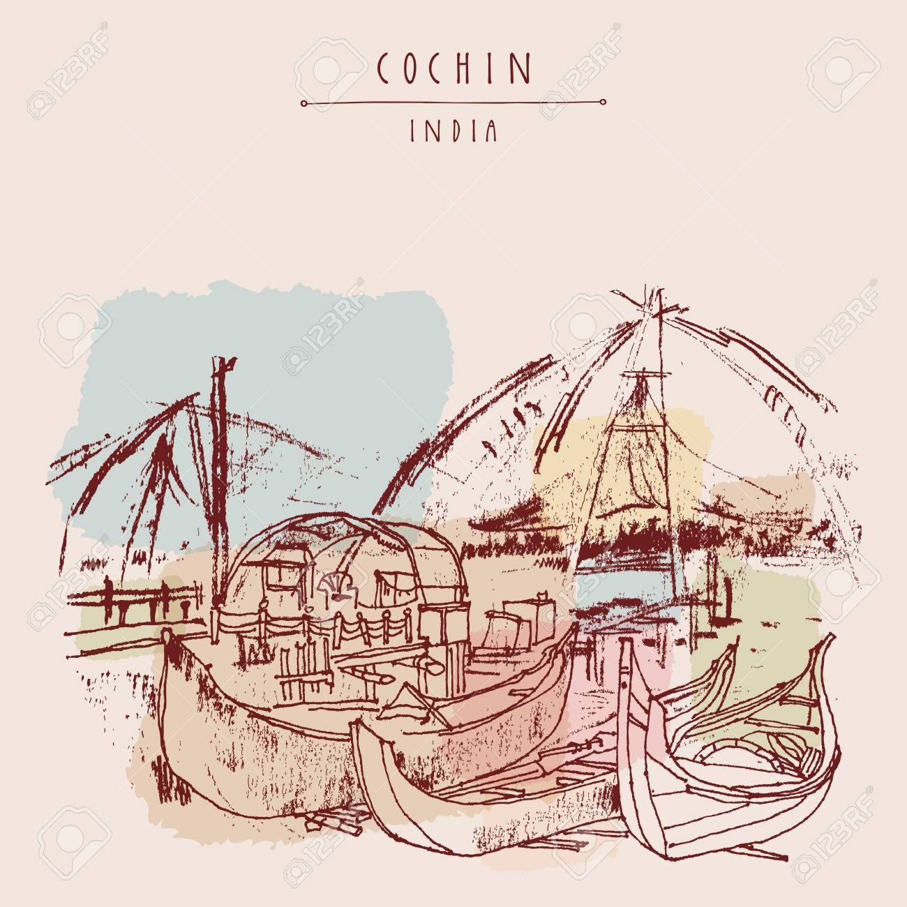 Wooden boats and Chinese traditional fishing nets in Cochin, Kerala, India. Vintage hand drawn postcard - 58715412