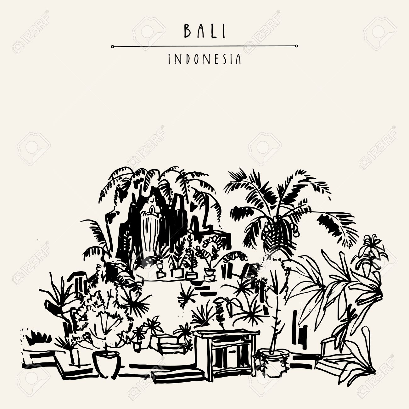 A garden at a catholic church in bali indonesia asia hand drawing