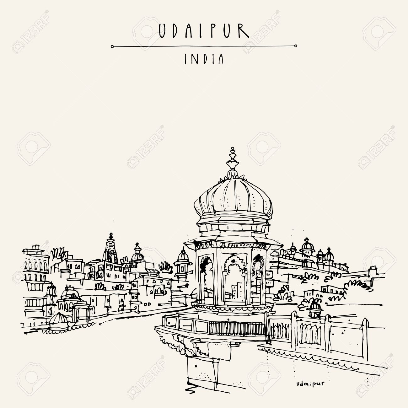 View of Udaipur, Rajasthan, India. Hindu temple, ghat. Hand drawn cityscape sketch. Travel art. Vintage artistic postcard template. Vector illustration - 58716178