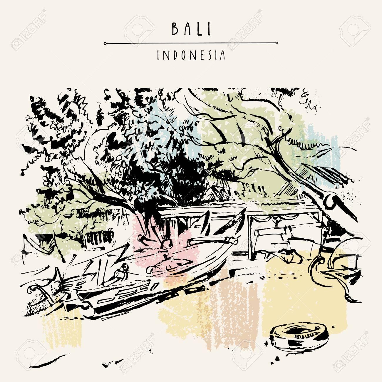 Jimbaran Bali Indonesie Plage Tropicale Sable Arbres Bateau De