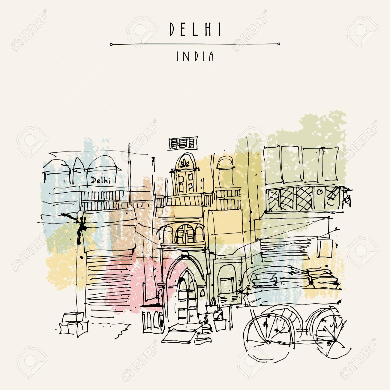Alte Historische Gebäude Und Ein Wagen In Main Bazar, Paharganj ...