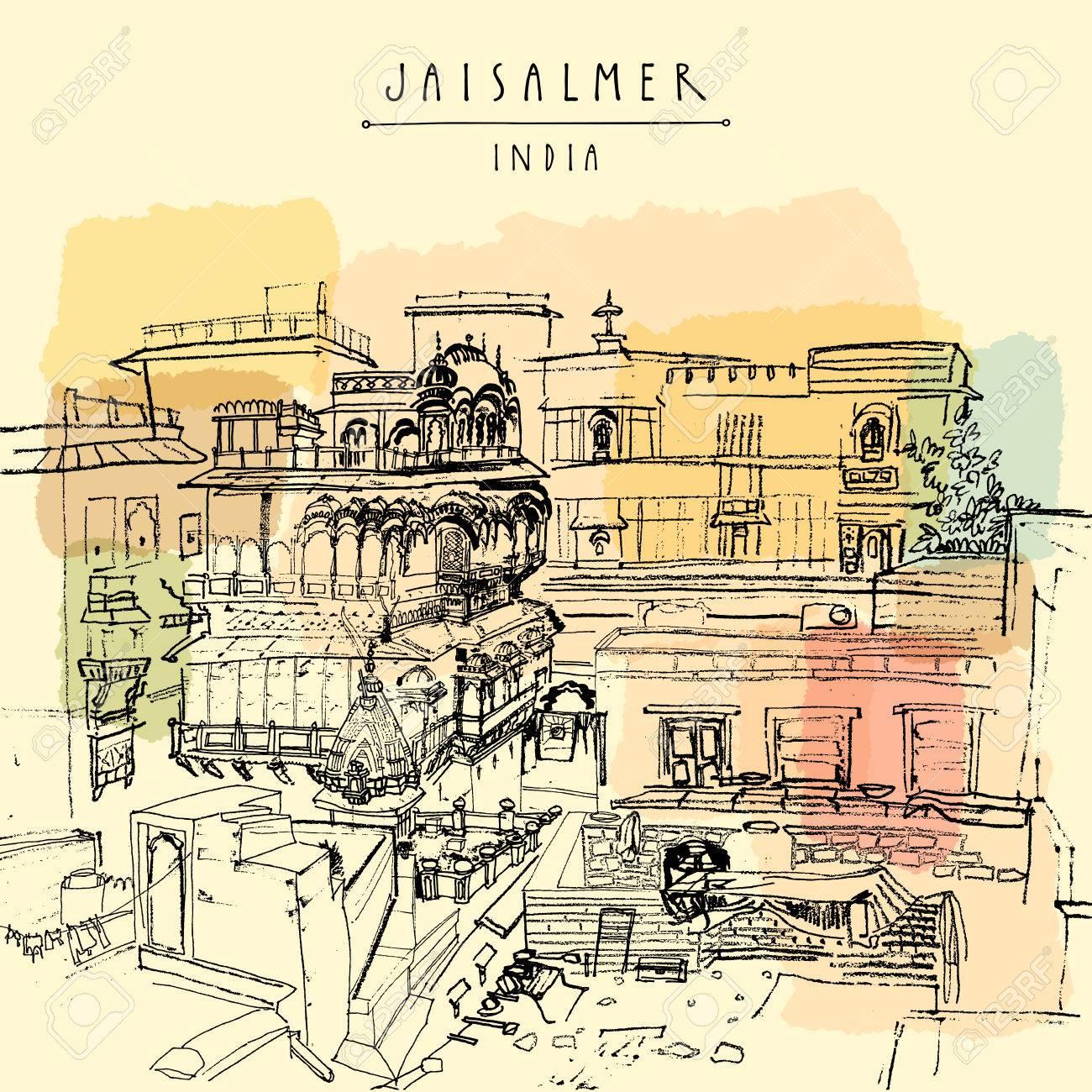 Carte Postale Inde.Palace A Jaisalmer Rajasthan Inde Vintage Touristique Main Livre Illustration Tiree Carte Postale Ou Poster Dans Le Vecteur