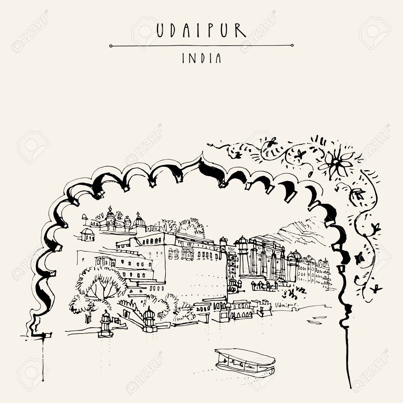 View of Udaipur, Rajasthan, India. Hand drawn cityscape sketch. Travel art. Vintage artistic postcard template. Vector illustration - 58719526