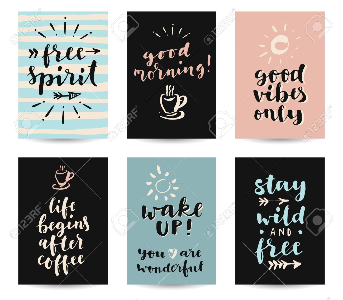 Set Of Modern Calligraphic Posters With Inspirational Quotes