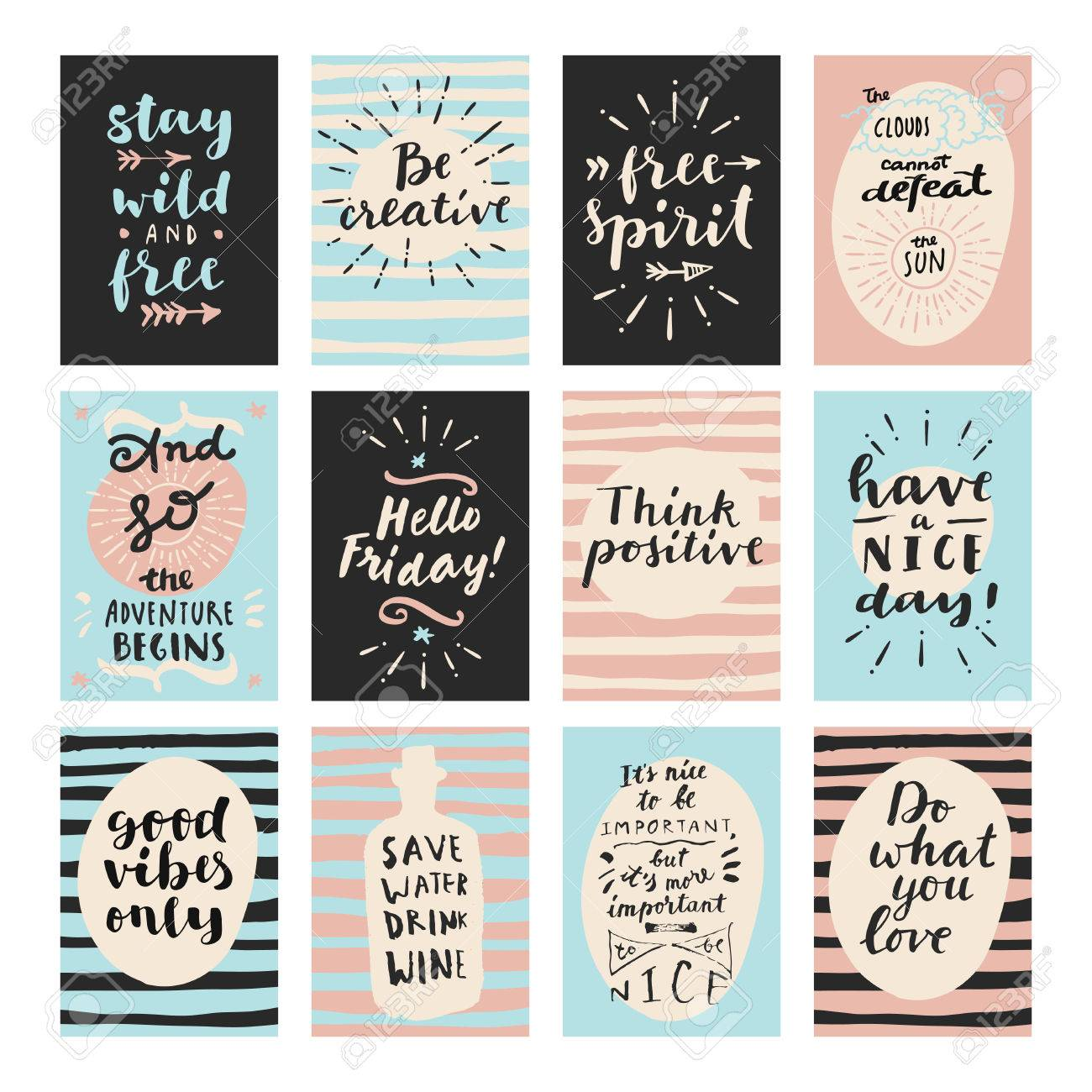 Set of modern calligraphic posters inspirational quotes and set of modern calligraphic posters inspirational quotes and good wishes free spirit hello voltagebd Images