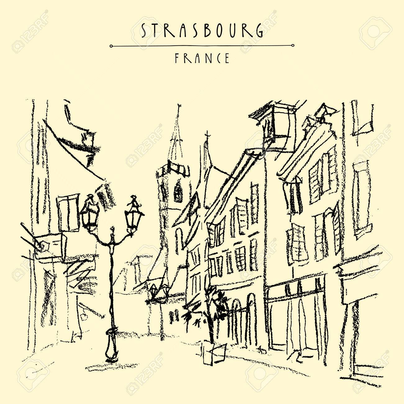 Strasbourg France Europe Pedestrian Street In Old Historic Town French Architecture