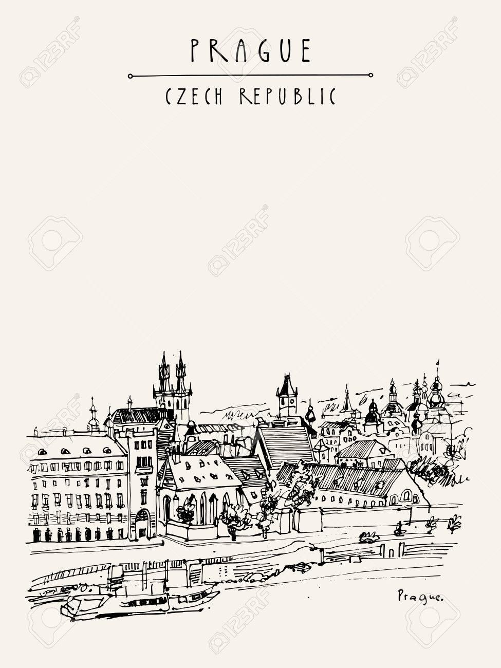 Prague skyline, Czech Republic, Europe. European cityscape. Travel sketch. Hand-drawn vintage touristic postcard, poster, book or calendar illustration in vector - 63467922