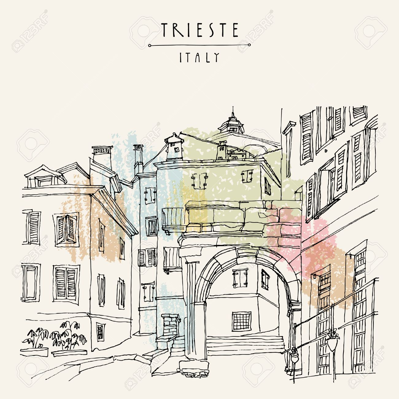 Remains of a Roman arch in Trieste's Old City, Trieste, Friuli-Venezia Giulia, Italy. Mediterranean houses. Artistic hand drawn travel sketch. Book illustration, postcard, poster in vector - 63467904