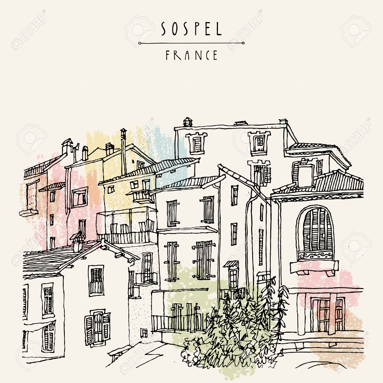Nice antique houses in Sospel, France, Europe. Cozy European town on French Riviera. Mediterranean chic. Hand drawing. Travel sketch. Vintage touristic postcard, poster or book illustration in vector - 63467865