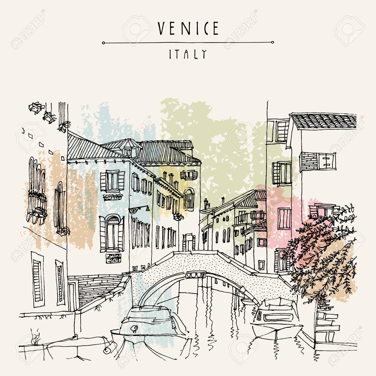 Bridge in Venice, Italy, Europe. Vector hand drawn vintage touristic postcard - 63467822