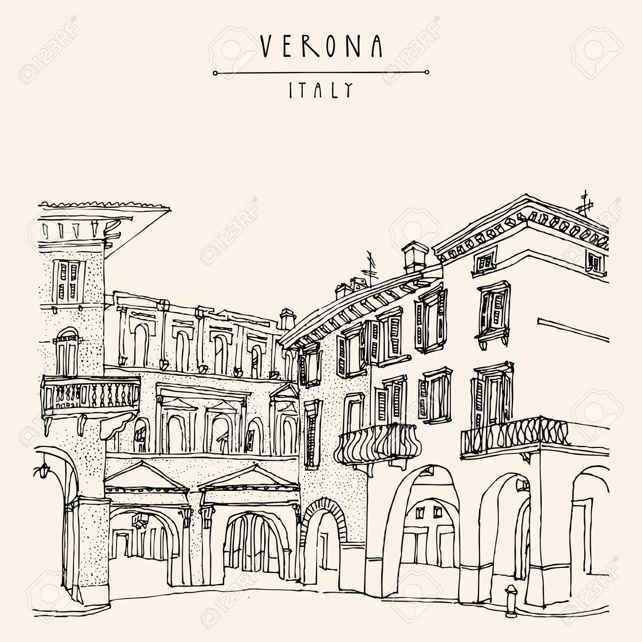 Verona, romantic Italian city of Romeo and Juliette. Old historic buildings. Travel sketch. Vector vintage hand drawn touristic postcard - 63467531