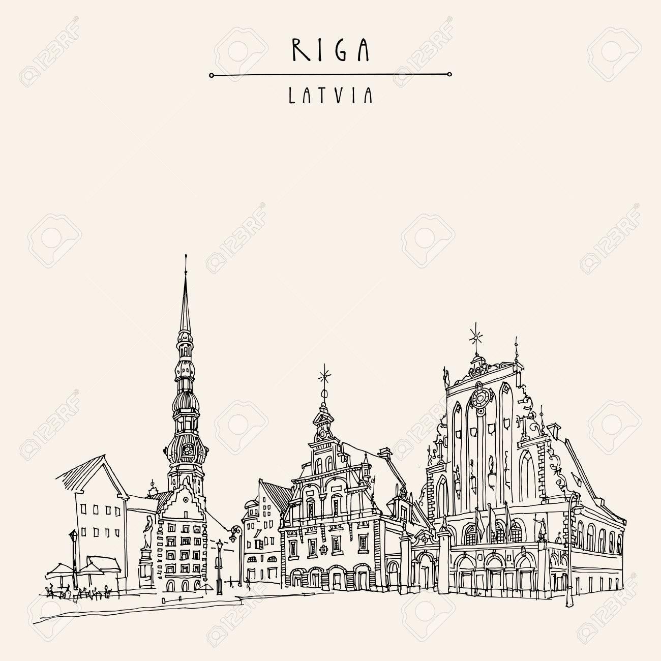 Riga, Latvia. Hand drawn postcard in vector - 64104051