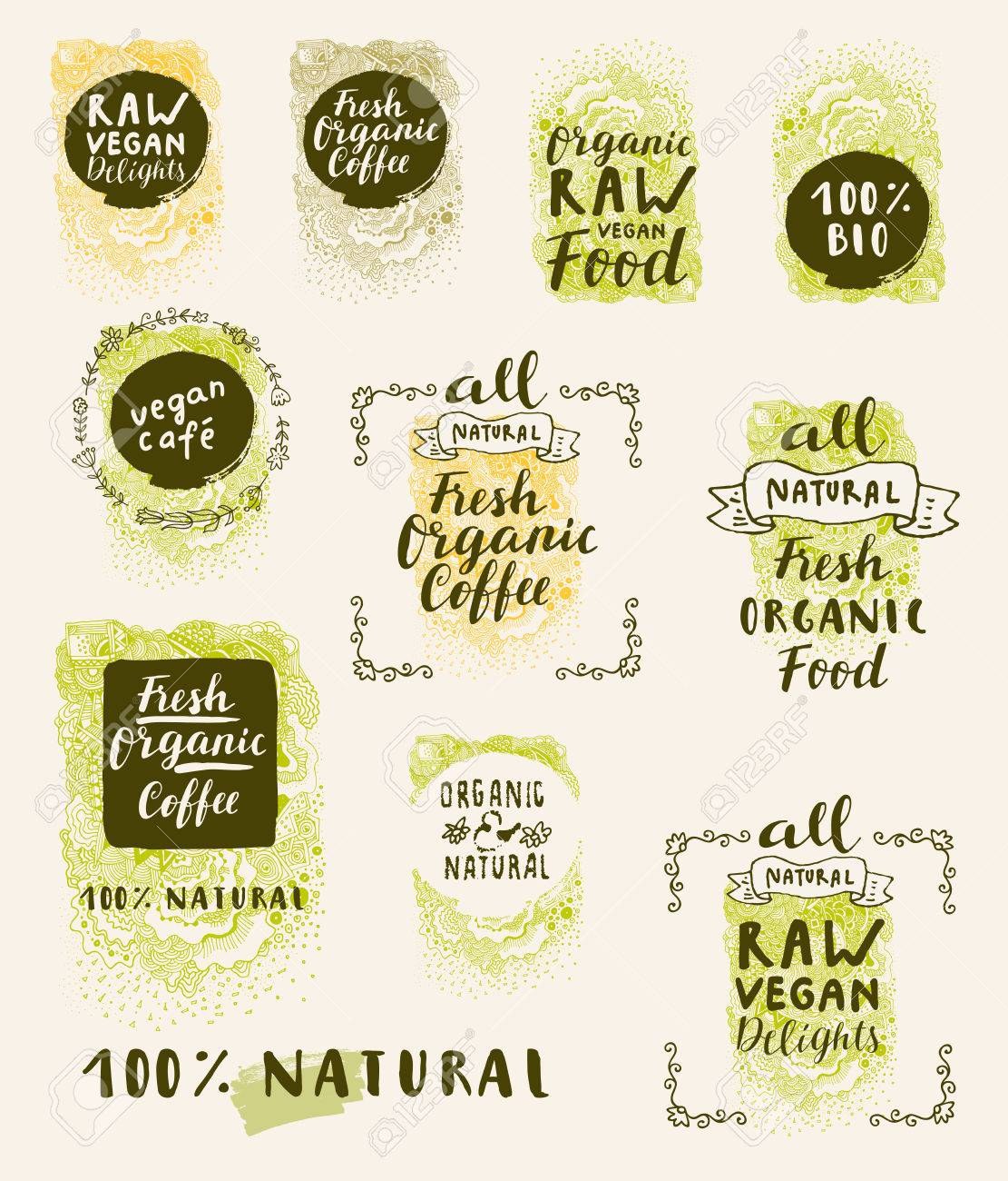 Bio Organic Fresh Natural Coffee, Food, Raw Vegan Delights. Vector handdrawn restaurant, cafe, bakery menu labels, badges, stickers, banners, posters with awesome zen inspired doodle background - 64104328