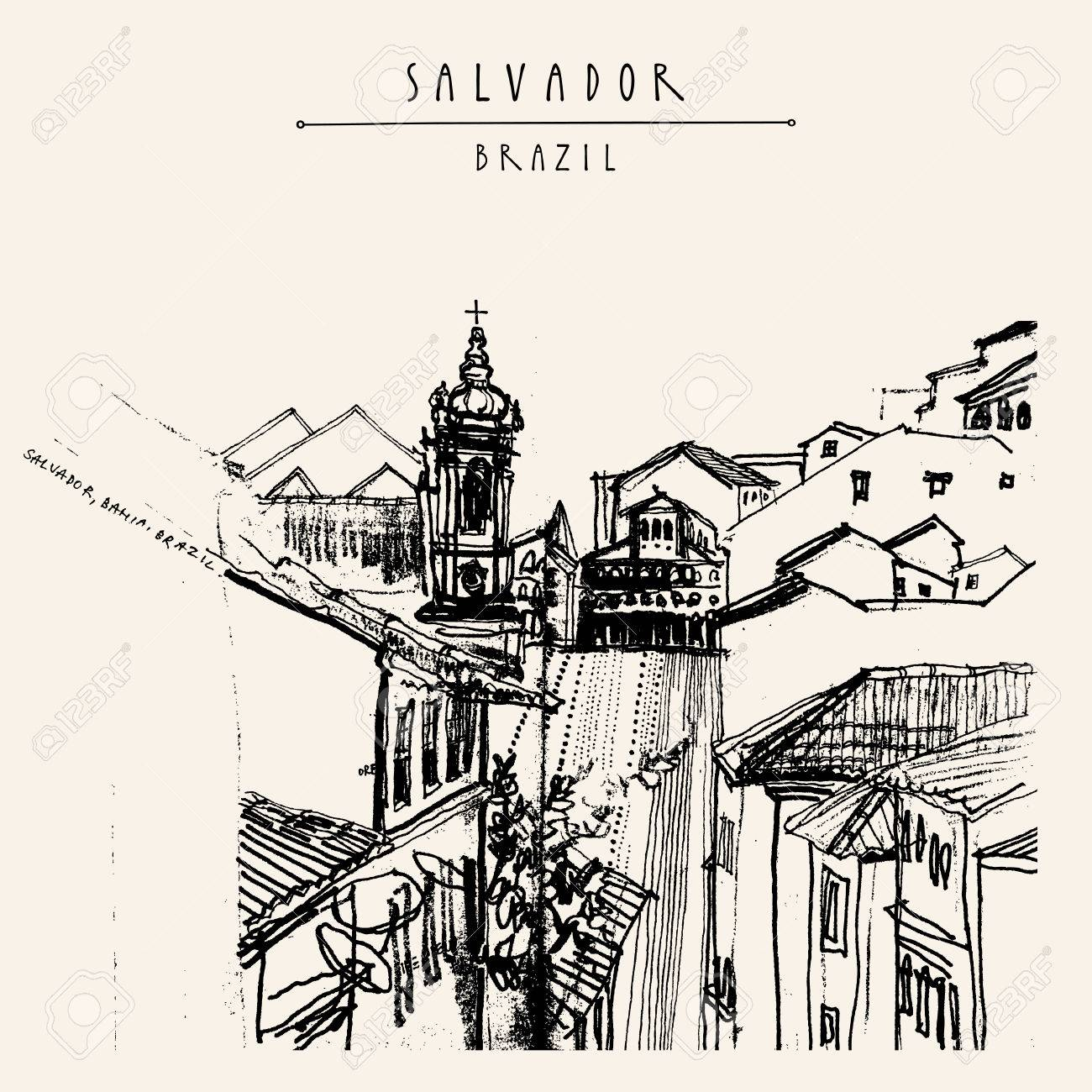 Old town in Salvador, Bahia, Brazil, South America. Houses and Catholic church on the hills of gorgeous town. Vintage hand drawn postcard, book illustration or poster template in vector - 64113982