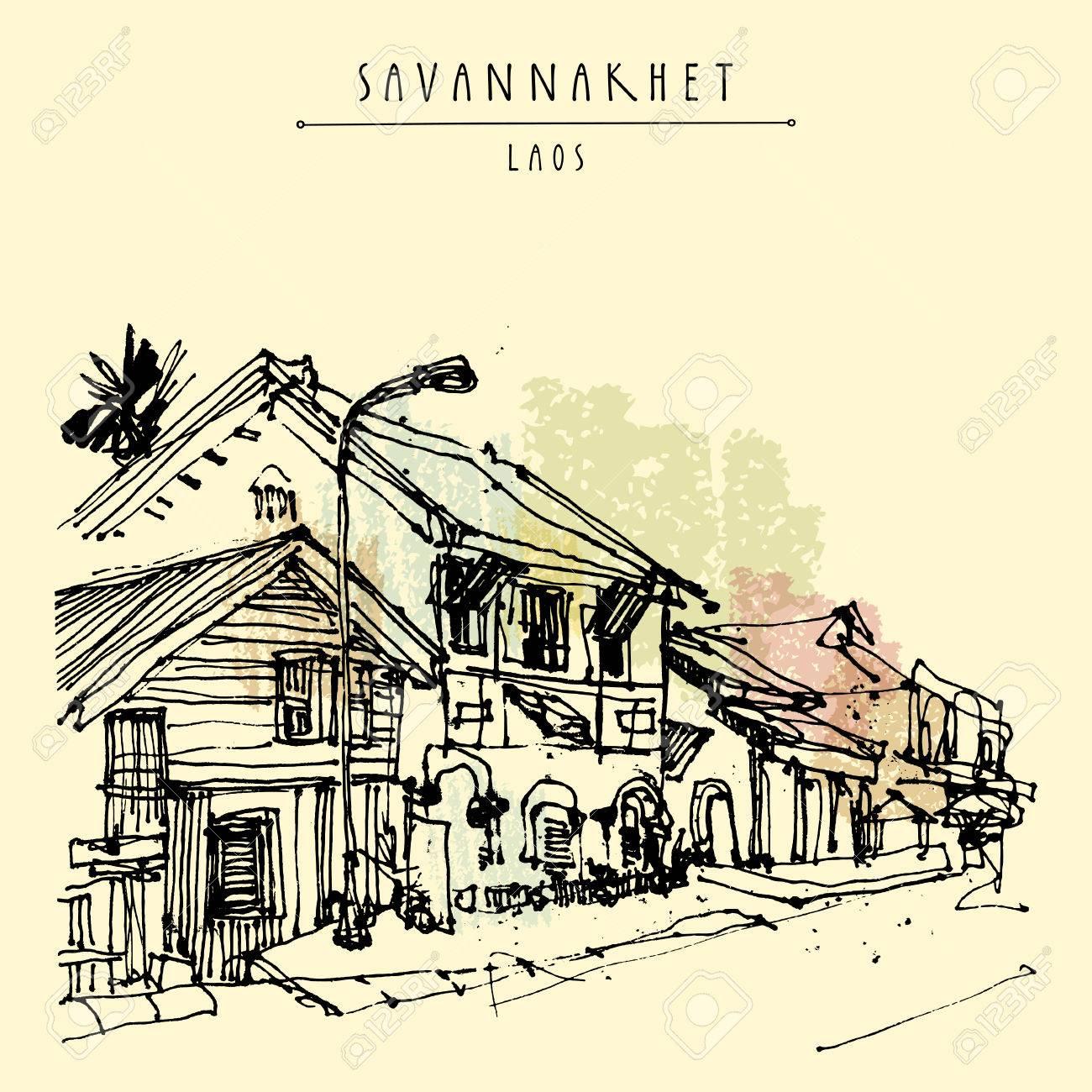 Sleepy Street In Savannakhet Former French Colonial Town Laos Southeast Asia Vintage