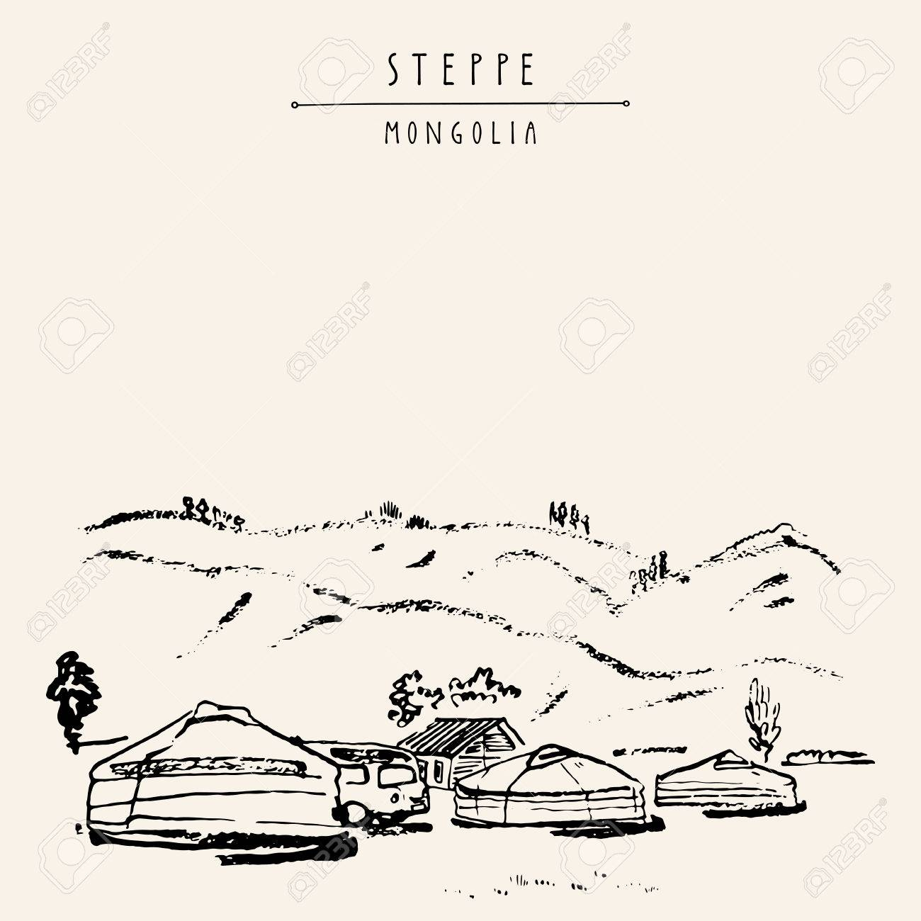 Vector Mongolia postcard. Yurts (gers) traditional Mongolian dwellings in Mongolian steppe. Mountains on background. Travel sketch. Brushpen graphic art. Hand drawn vintage book illustration, postcard - 64116027