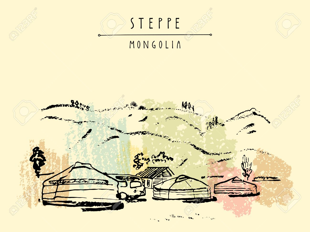 Vector Mongolia postcard. Yurts (gers) traditional Mongolian dwellings in Mongolian steppe. Mountains on background. Travel sketch. Brushpen graphic art. Hand drawn vintage book illustration, postcard - 64116059
